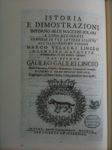 1613 Galileo solar book.JPG